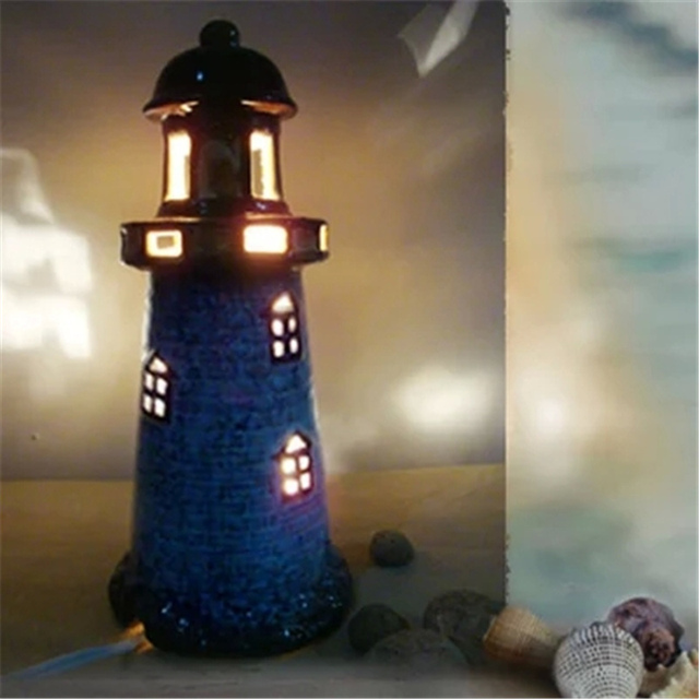Brand New Handmade Mediterranean Lighthouse Modern Night Light Table