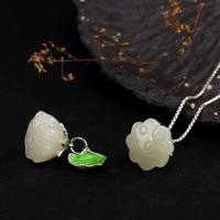 Genuine Jade Pendant Necklace For Women 100% 925 Sterling Silver Elegance Lotus Chain Pendant Wholesale