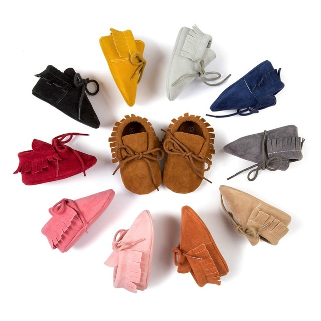 2019 Hot sale PU  Leather Fringe  soft sole   Newnborn Baby Boy Girl mocassion shoes Infant   Non-slip Lace-up baby crib shoes 2