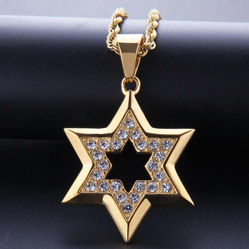 Hip Hop Bling Iced Out Rhinestone Gold Stainless Steel Jewish Star of David Hexagram Pendant Necklace for Men Rapper Jewelry
