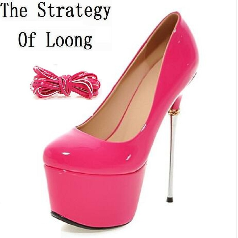 Patent Leather Platform Women Lace Up Gladiator Pumps 2016 Fashion Sexy Thin High Heel Shoes Big Size 41 42 43 Plus Size 43 aiyuqi 2018 spring new women s genuine leather shoes waterproof platform sexy plus size 41 42 43 fashion heel shoes female