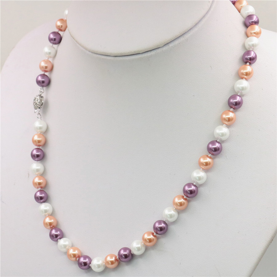 Pink and White Glass Pearl Beads on Chain