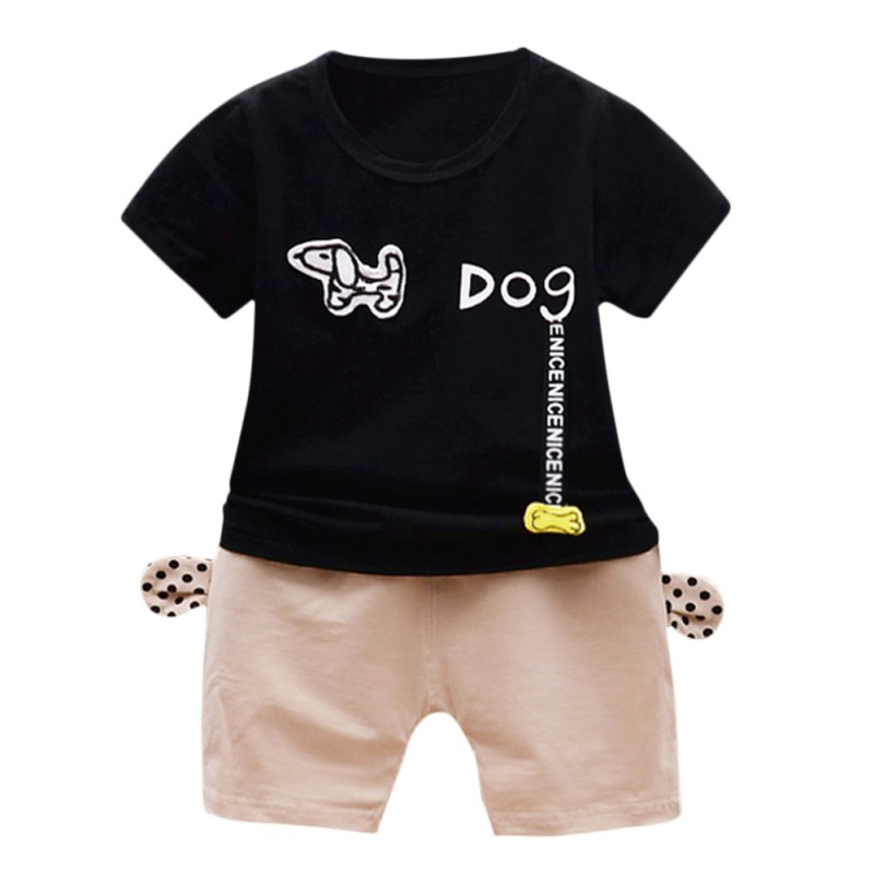 Baby Boys Short-Sleeved Animal Dog T-shirt Suit Toddler Kids Top Tee Shirts + Short Pants Clolthing Summer Chidren Sets 2018 New