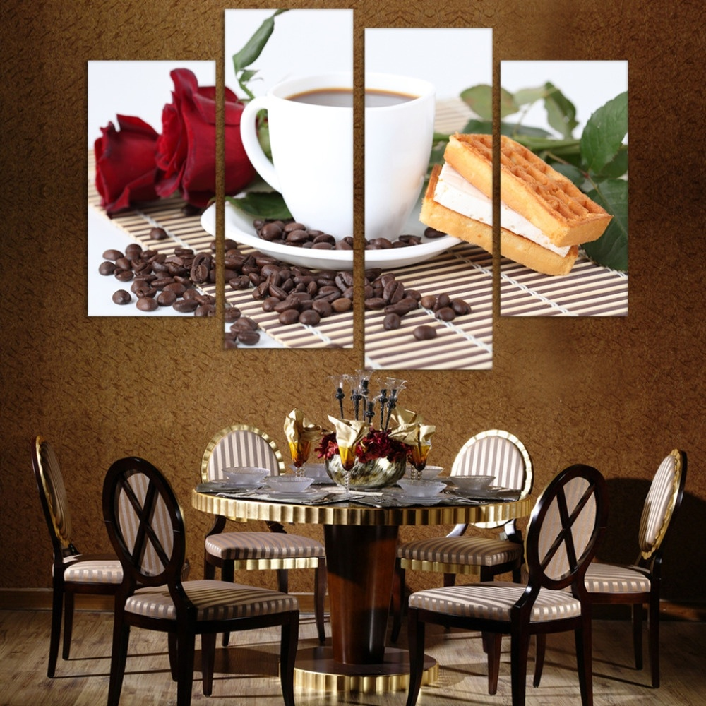 vendita caldo su tela pittura per la sala da pranzo o della cucina stampe coffe pane