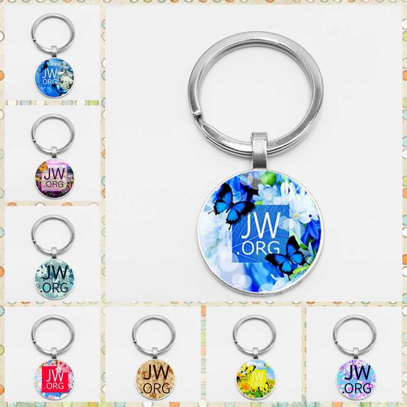 HOT!Classic Colors Flower JW.ORG Key Chains Holder Round Glass Dome Jehovah Pictures Women Men Christian Gifts Jewelry