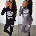 2PCS Womens Casual Loose Long Sleeve Print Sweatshirts Tops + Long Elastic Pants