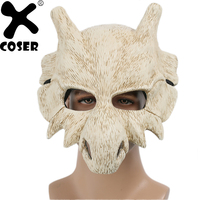 XCOSER Pokemon Cubone Cosplay Mask Beige Resin Bone Full Face Mask 2018 Halloween Party Cosplay Mask Props Accessories Hot New