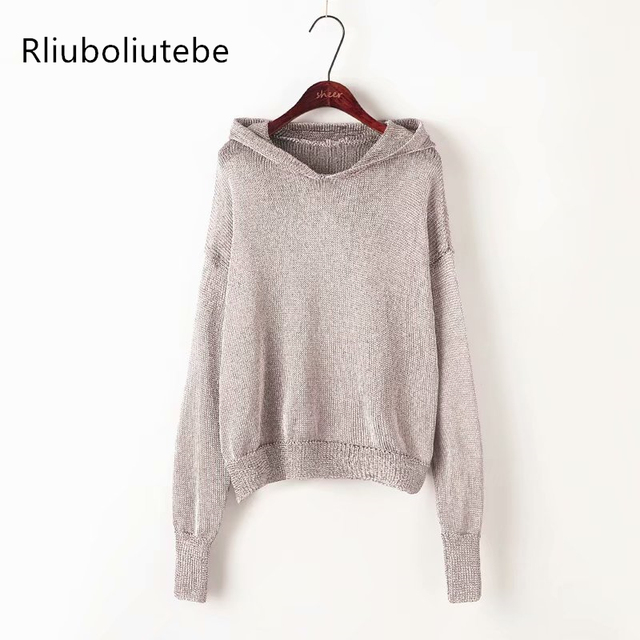 9a28b87f6465 Knit Hooded Sweater Women Long Sleeves Knitted Hooded Pullover Ribbed  Sweater Knitted Coat Female Casual Jumper Autumn Spring