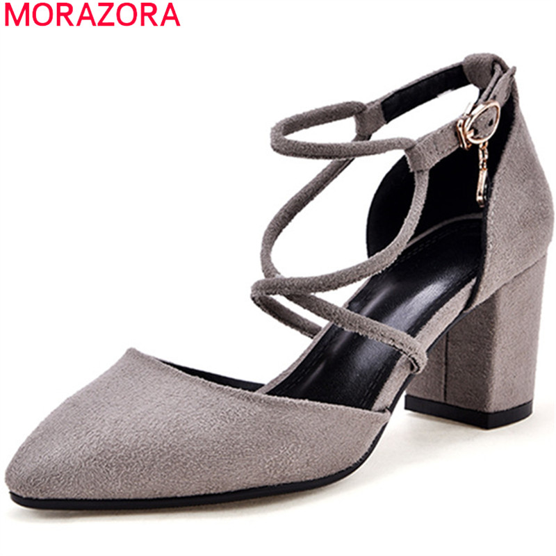 MORAZORA new fashion spring summer shoes high heels pointed toe flock square heel casual dress wedding shoes women pumps xiaying smile summer women sandals casual fashion lady square heel slip on flock shoes pointed toe cover heel lace bowtie shoes page 1