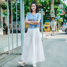 LYNETTE'S CHINOISERIE Smoke 2017 summer pleated chiffon all-match skirt national embroidery trend bust skirt female