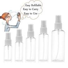 5 adet 10ml 30ml 50ml 60ml 100ml şeffaf plastik taşınabilir sprey şişesi boş parfüm şişeleri doldurulabilir sis pompası parfüm Atomizer
