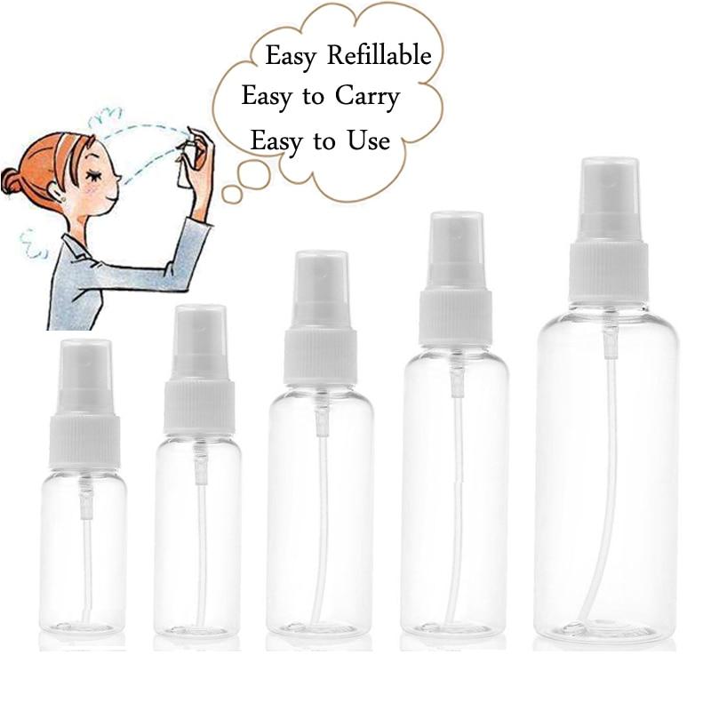5Pcs 10ml 30ml 50ml 60ml 100ml Clear Plastic Portable Spray Bottle Empty Perfume Bottles Refillable Mist Pump Perfume Atomizer-in Refillable Bottles from Beauty & Health