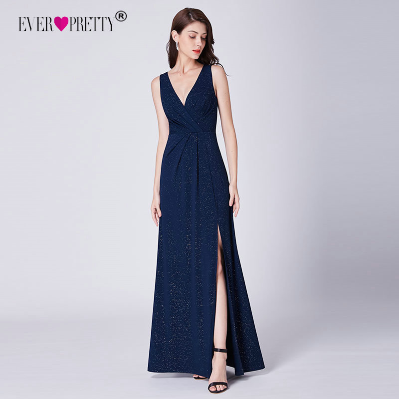Navy Blue Evening Dresses Long 2019 Sexy Ever Pretty A-line Cheap V-neck Sleeveless Formal Party Gowns Robe Longue Manche Longue