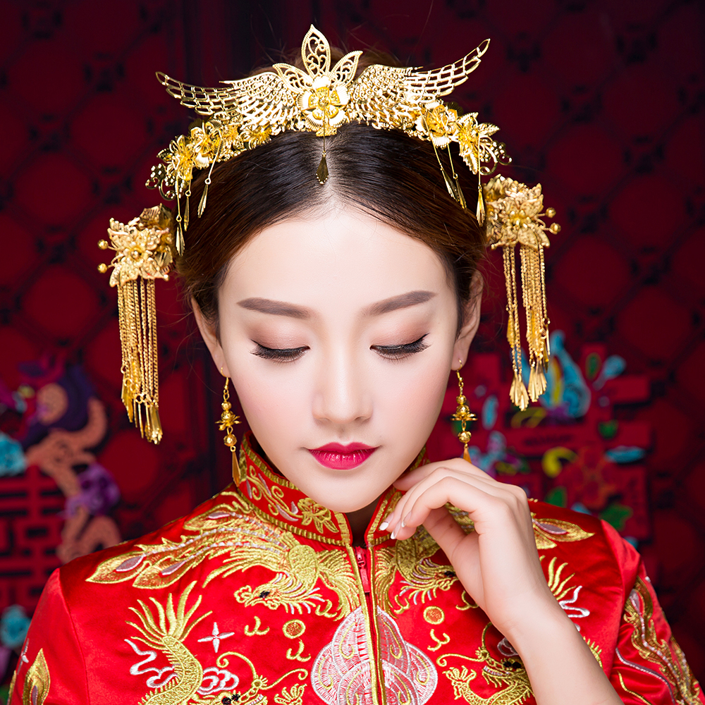chinese style traditional bridal headdress wedding hair