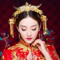Elegant Chinese Vintage Wedding Bridal Hair Accessories Jewelry Gold Color Flower Brides Hair Tiaras Headband Hairpins