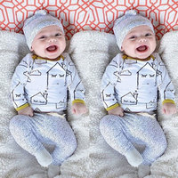 3pcs Baby clothes boy girl cartoon Long sleeve Top + pants sport suit with warm Baby hat set newborn clothing