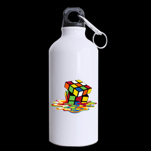 Melting Rubik's Cube Customized Made Design Aluminum Sports Bottle Water Bottles White 400ml Travel Mug (Two Sides Printed)