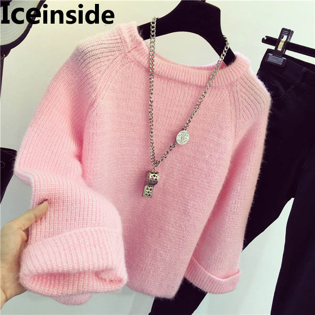 Iceinside Winter Women Candy Color Sweater Female Knitted Sweaters And Pullovers Femme Tricot Pull Bottom Sweater Tops Jumper