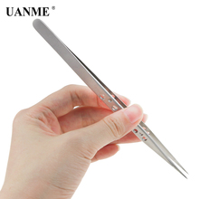 UANME AT-19K 19H Stainless Steel Straight Precision Curved 9 Hole Lengthen Tweezers for Mobile Phone Repair Tool