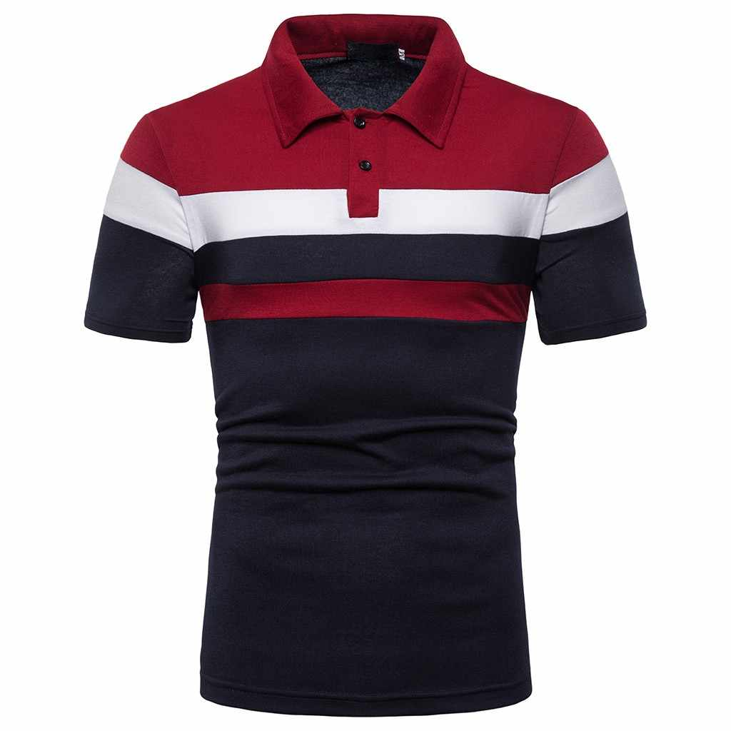 Мужская полосатая Повседневная приталенная рубашка с коротким рукавом, Лоскутная рубашка, топ, блузка, модная уличная рубашка поло, мужская рубашка camisa