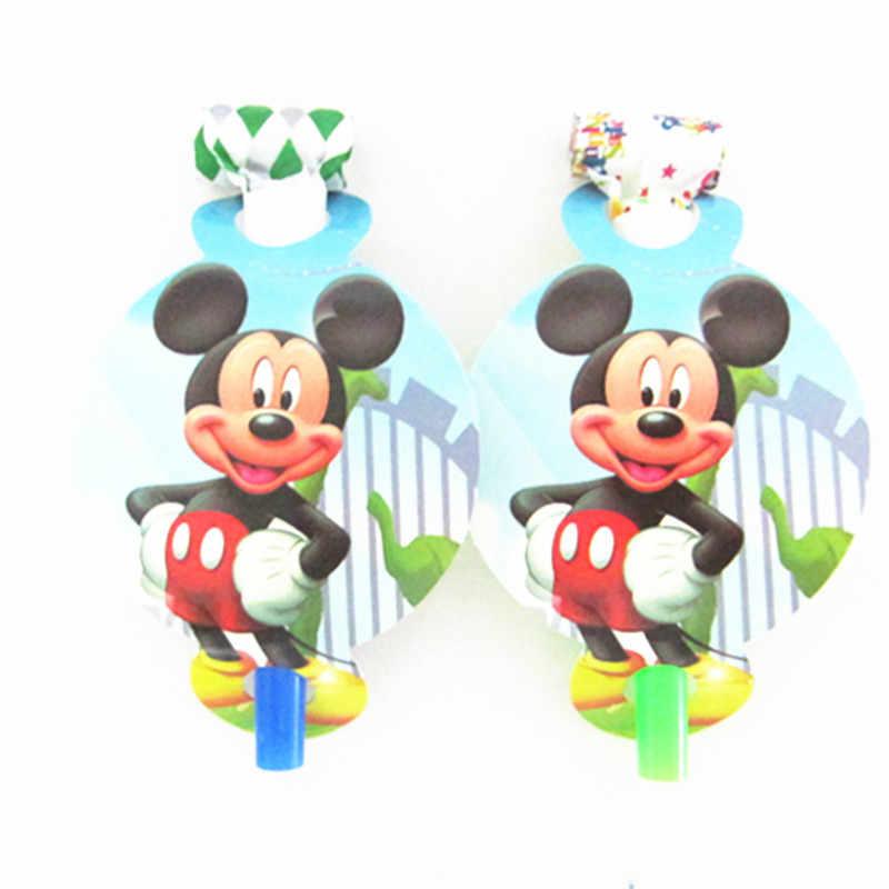 6 шт. Забавный свисток с изображением Микки из мультфильма для детей, день рождения, вечеринка, выдувание дракона, украшение для детского дня рождения