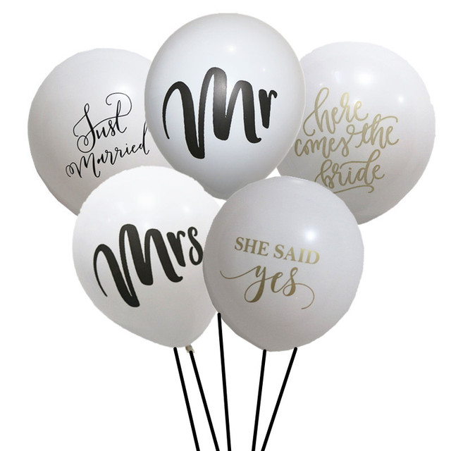 20pcs Mr Mrs Balloon Just Married Balloon She Said Yes