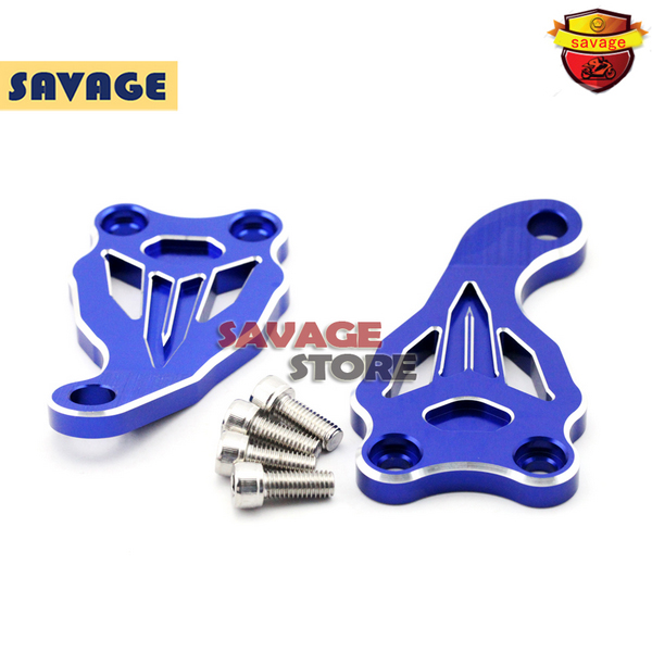 ФОТО Motorcycle Accessories Fixed Frame and Engine Mounting Bracket Slider Cover For YAMAHA MT07 FZ07 MT-07 FZ-07 2014-2016 Blue
