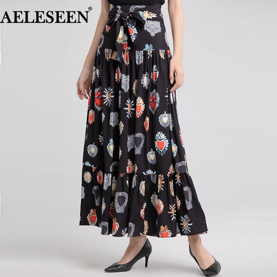 AELESEEN 高級スカート 2018 春女性ロング冬スカート新ファッションプリーツスカートハートヴィンテージ黒プリントスカート  グループ上の レディース衣服 からの スカート の中 1