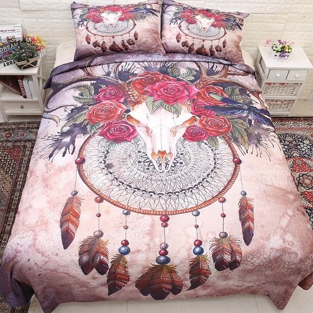 Deer Skull Bohemian Duvet Cover Set HD Print Skulls Bedding Set Twin Full Queen King Size 3PCS Bedding
