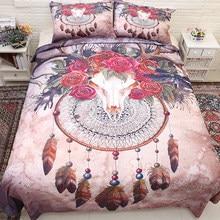 Juego de edredón bohemio con estampado de calaveras y ciervo, juego de cama doble de tamaño King Size 3 uds