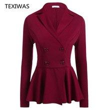 389ea263a76 TEXIWAS Otoño, chaqueta de las mujeres Slim volantes Tops traje abrigos  Oficina abrigos OL trabajo Formal traje de chaqueta .