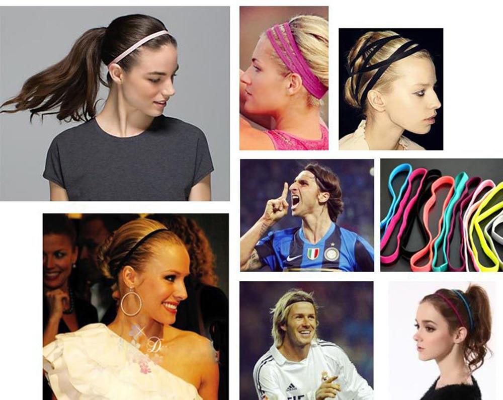 Thin Sport Headbands for Women and Men Non-slip Yoga Hair Band Elastic Sweatbands for Football,Basketball,Soccer,Tennis and Golf (10)