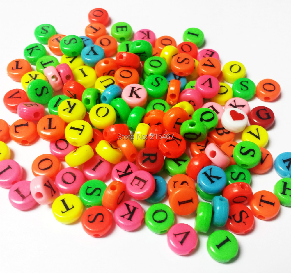 Craft beads in bulk - Free Lot 100pcs Bulk Letter A Z Round Multi Color Charms Loose Beads 10mm Home Craft Girl