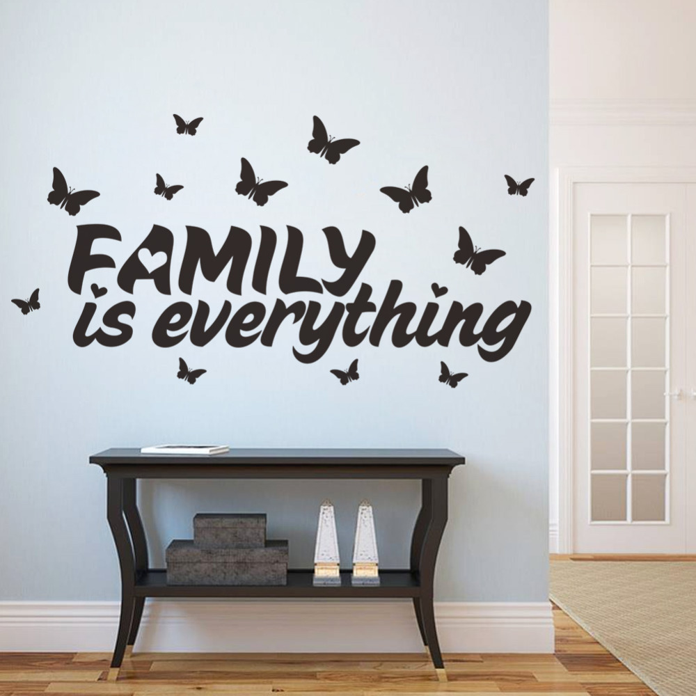 Aliexpress Com Buy New Design Creative Diy Wall Stickers: Family Is Everything Butterfly Arounding Creative Quote