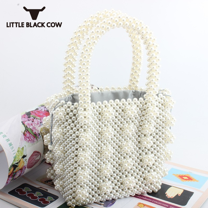 2019 New Elegant Ladies Pearls Beading Embroidery Handmade Totes Bags Womens Party Handbag White Fashion Evening Bag Free Ship2019 New Elegant Ladies Pearls Beading Embroidery Handmade Totes Bags Womens Party Handbag White Fashion Evening Bag Free Ship