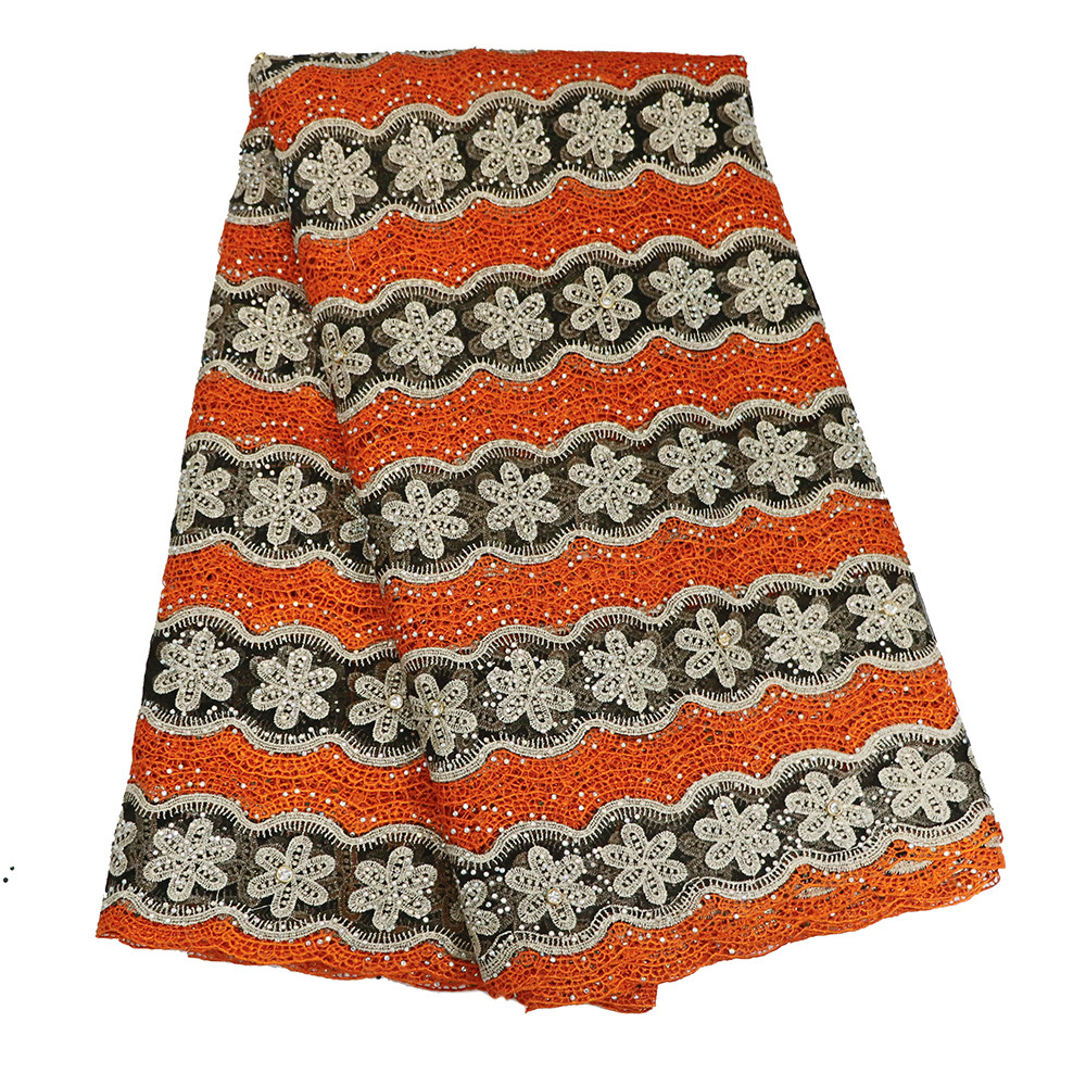 New Arrival Orange / Gold African Stones Design Guipure Embroidery Net Lace Fabric For Party Dress X505-10New Arrival Orange / Gold African Stones Design Guipure Embroidery Net Lace Fabric For Party Dress X505-10