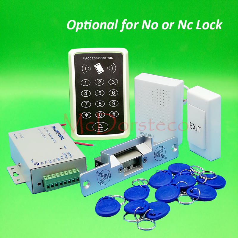 125khz Rfid Card Door Access Control kit Full Door Access Kit Yli YS130 No Nc electric strike lock + Power Supply diysecur magnetic lock door lock 125khz rfid password keypad access control system security kit for home office