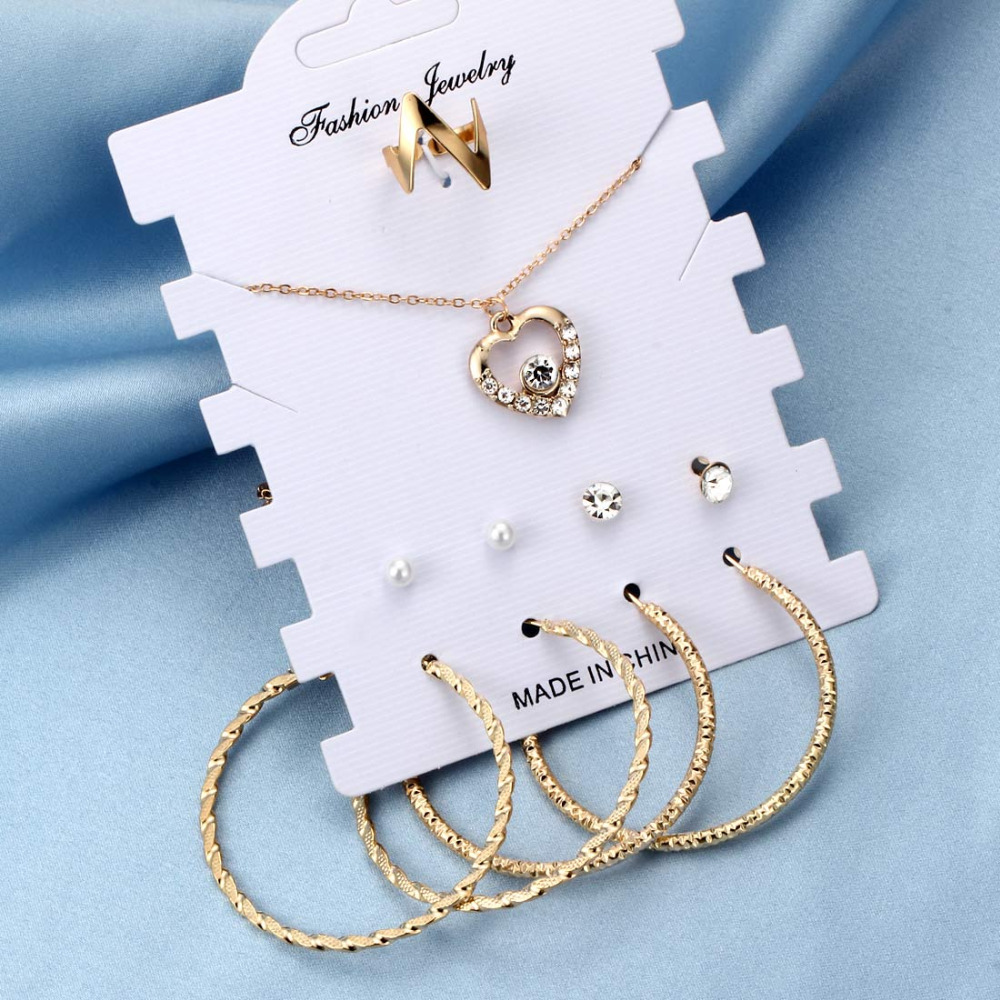Fashion Gold Silver Bridal Jewelry Sets For Women Accessory Cubic Zircon Crystal Heart Necklace Rings Stud Earrings Set Gift