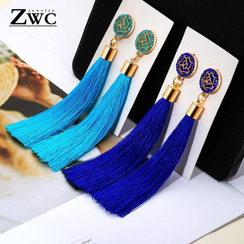 ZWC New Fashion Luxury Crystal Tassel Earrings for Women Girl Wedding Party Charm Elegant Red Long Earring Jewelry Gift