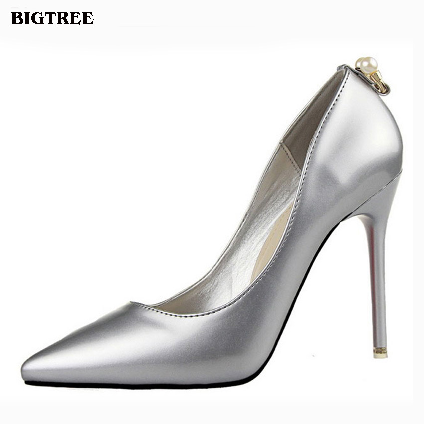 BIGTREE 2017 shoes woman Korean fashion elegant fine with high-heeled suede shoes shallow mouth pointed shoes pearl 48 zmx
