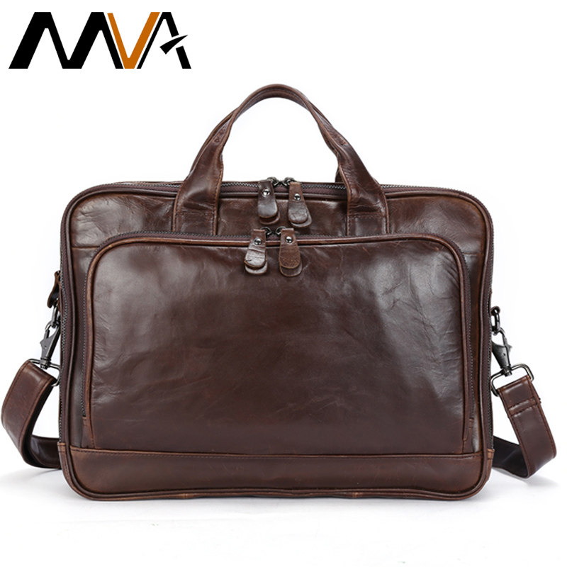 MVA Genuine Leather Briefcase Laptop men's bags Messenger Shoulder Bags Men's Leather bag Briefcases Laptop Crossbody Bags 8979 mva men genuine leather bag messenger bag leather men shoulder crossbody bags casual laptop handbag business briefcase
