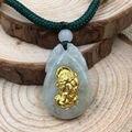 Handmade Certified Grade A Natural Jadeite Jade & 24K Yellow Gold PiXiu Pendant