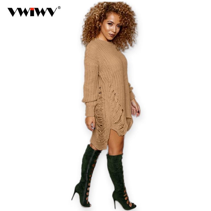 Evropský americký styl Nové Pletené Ženy Pulovry Šaty Módní O krku Dlouhý rukáv Zimní Vestido Neformální svetr Šaty
