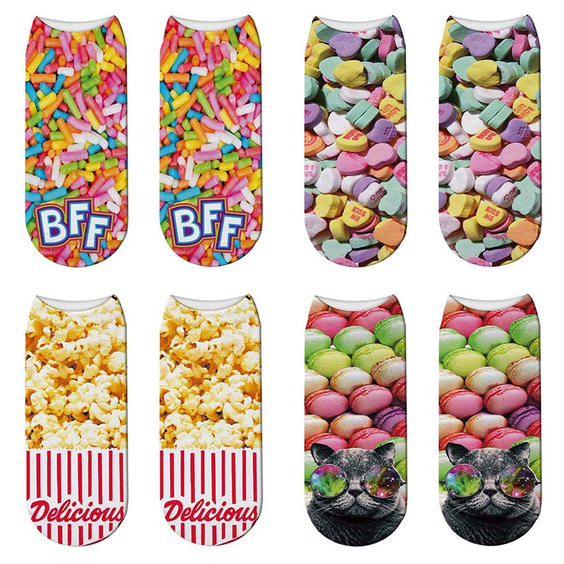 New 3D Print Macaron Casual Cotton Socks Popcorn Pattern Women Sock Funny Candy Kawaii Low Cut Ankle Short Socks