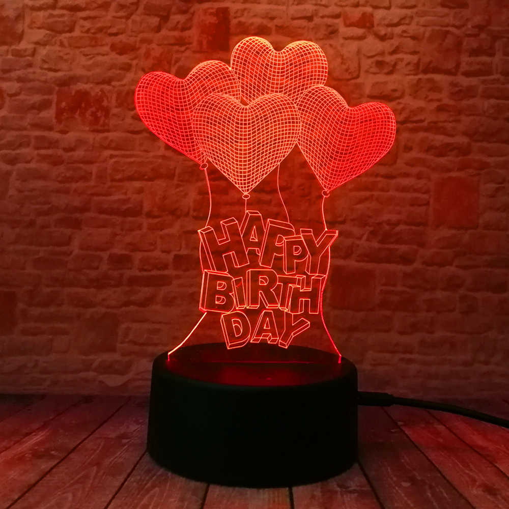 Mới Sinh Nhật Vui Vẻ Trái Tim Tình Yêu Bóng 3D Thị Giác Led RGB Đèn Ngủ Bóng Đèn Bàn Ảo Giác Tâm Trạng Mờ Đèn 7 Màu amazing Quà Tặng
