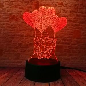 Image 2 - Nieuwe Gelukkige Verjaardag Liefde Hart Ballonnen 3D Visuele Led Rgb Nachtlampje Lamp Tafel Illusion Stemming Dimmen Lamp 7 Kleur verbazingwekkende