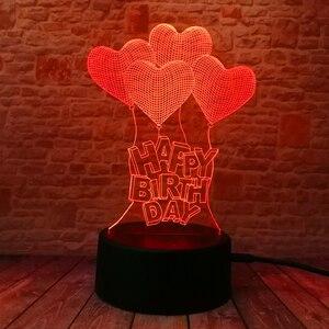 Image 2 - Novo feliz aniversário amor coração balões 3d visual led rgb noite lâmpada de mesa ilusão humor escurecimento 7 cores incrível