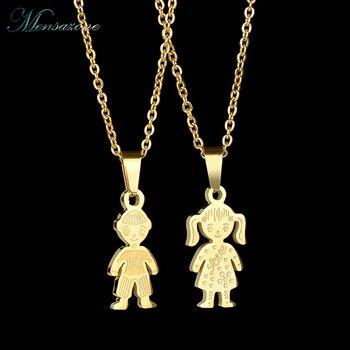 e0e1d67a18c3 Collar de acero inoxidable MENSAZONE familia amor niño niña colgante joyería  cadena collares niños encanto regalos