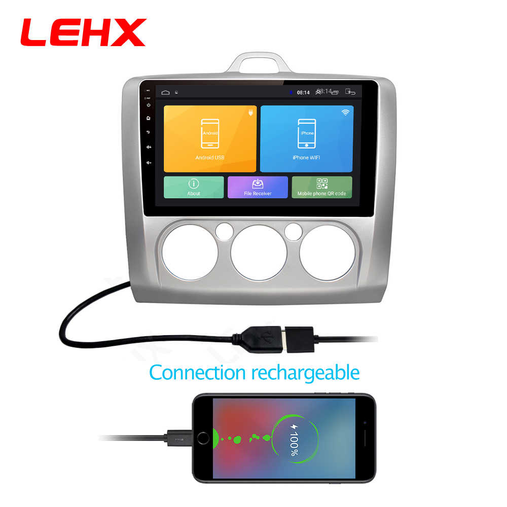 LEHX coche Android 8,1 GPS navegación coche Radio reproductor de vídeo Multimedia para ford focus 2 3 2006-2011 Hatchback no 2 din dvd