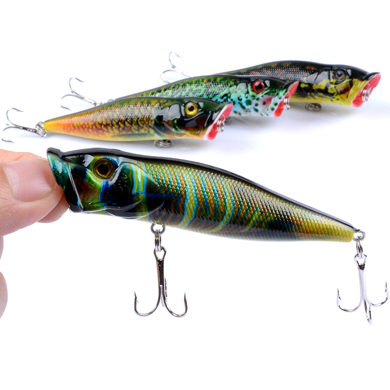 1 Pcs Big Popper Fishing Lures 9.5cm 12g 3d Eyes Bait Isca Artificial Crankbait Wobblers Ccolor Painted Fishing Lure WQ8075 fishing lures big hard lure popper wobblers fishing tackle 3d eyes abs bait crankbait isca with hooks 10 colors 1pcs